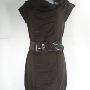 Dots Brown Sweater Cowl Neck Dress w/ Belt (M)